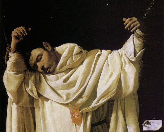 Saint Serapion (detail), Francisco de Zurbarán, The Martyrdom of Saint Serapion, 1628, 120 × 103 cm, oil on canvas (Wadsworth Atheneum, Hartford, Connecticut)