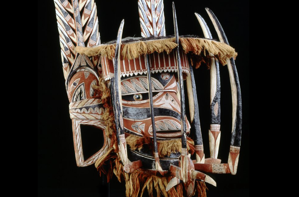 Malangan mask (detail), before 1884 C.E., wood, pigment, vegetable fibre, operculum., New Ireland, Papua New Guinea © The Trustees of the British Museum
