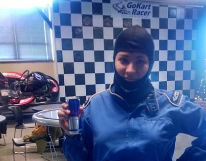 Photo of Amy in GoKart racing suit