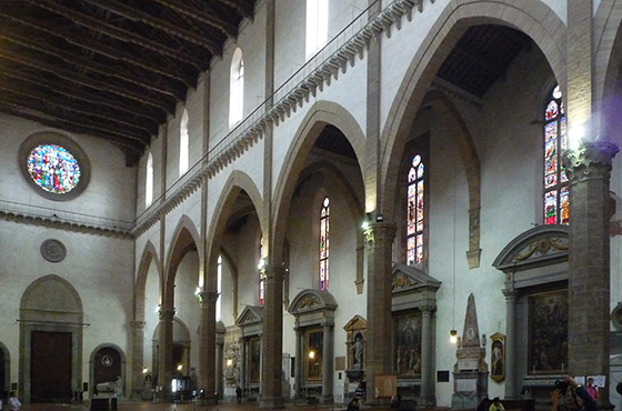 View of the nave of the church of Santa Croce in Florence