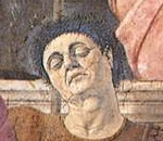 Face of soldier in brown armor (detail), Piero della Francesca, The Resurrection, c. 1463-5, fresco, 225 x 200 cm (Museo Civico, Sansepolcro)