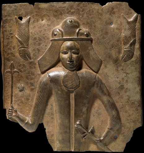 Brass plaque of a European, 16th century C.E.,, 39.5 x 37 cm, Benin, Nigeria © Trustees of the British Museum
