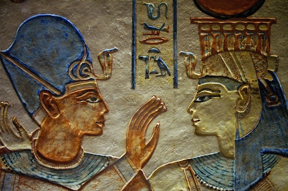 Painted sunk relief of the king being embraced by a goddess. Tomb of Amenherkhepshef (QV 55) (New Kingdom) Photo: Dr. Amy Calvert