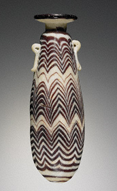 White Perfume Flask with Purple Zigzags, Greek, 600–300 B.C.E., glass, 5 3/16 in. high (The J. Paul Getty Museum)