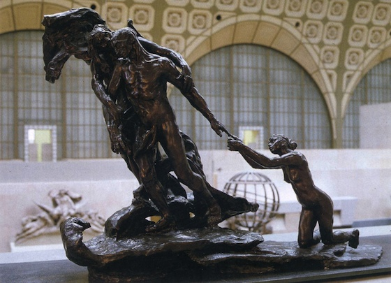 Camille Claudel, The Age of Maturity or Destiny, c. 1902, bronze group in three parts, 114 x 163 x .72 cm (Musée d'Orsay)