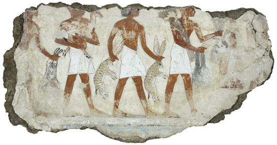Servants bringing offerings, Tomb-chapel of Nebamun, c. 1350 B.C.E., 18th Dynasty, paint on plaster, Thebes, Egypt © Trustees of the British Museum