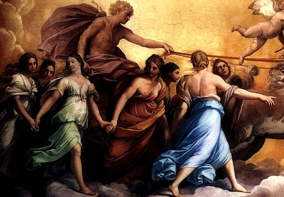Apollo in his chariot surrounded by female figures - The Hours (detail), Guido Reni, Aurora, 1613-14, ceiling fresco (Casino dell'Aurora, Rome)