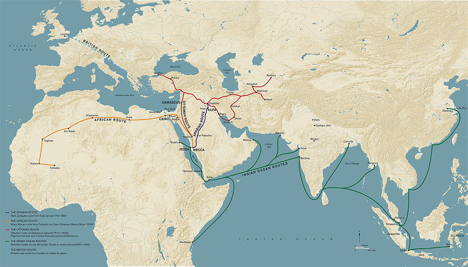 Map showing major Hajj routes highlighted in the exhibition. Matt Bigg