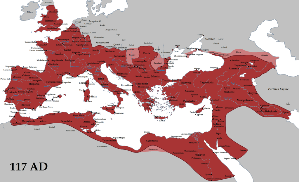 Roma İmparatorluğunu en geniş sınırlarıyla gösteren bir harita.