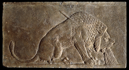 The Dying Lion, panel from the North Palace of Ashurbanipal, Nineveh, northern Iraq, Neo-Assyrian, c. 645 B.C.E., alabaster, 16.5 x 30 cm © Trustees of the British MuseumPart of a series of wall panels that showed a royal hunt. Struck by one of the king's arrows, blood gushes from the lion's mouth. There was a very long tradition of royal lion hunts in Mesopotamia, with similar scenes known from the late fourth millennium B.C.E.