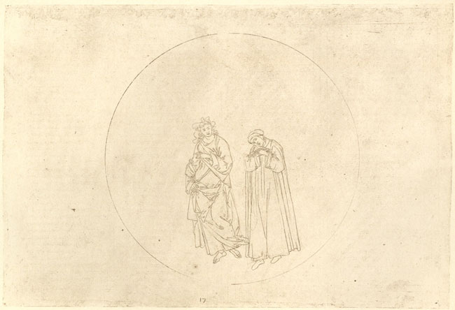 Sandro Botticelli, Fifth planetary sphere (heaven of Mars); Cacciaguida prophesies Dante's exile, but also his eternal fame, drawing, c.1480-95