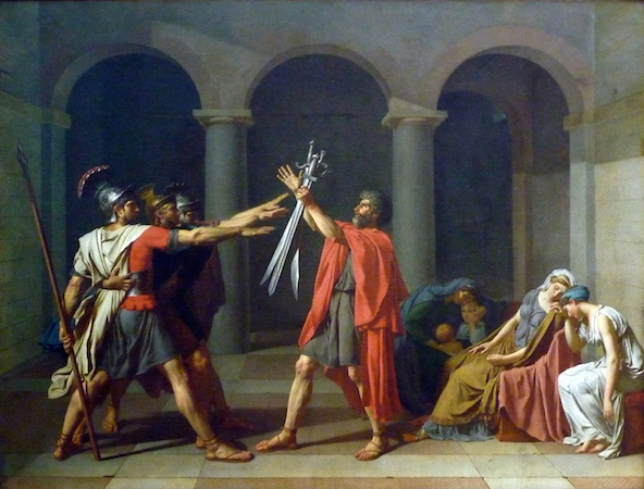 Jacques-Louis David, The Oath of the Horatii, oil on canvas, 3.3 x 4.25m,  commissioned by Louis XVI, painted in Rome, exhibited at the salon of 1785  (Musée du Louvre)