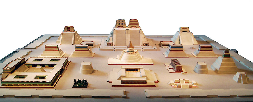 Model of the sacred precinct in Tenochtitlan (National Anthropological Museum, Mexico City, photo (edited): Steve Cadman, CC BY-SA 2.0)