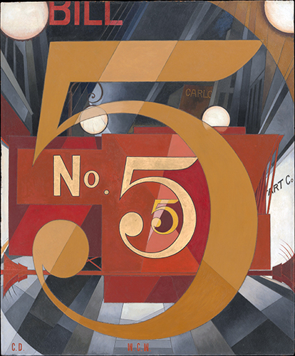 Charles Demuth, I Saw the Figure 5 in Gold, 1928, oil on cardboard, 90.2 x 76.2 cm (The Metropolitan Museum of Art)
