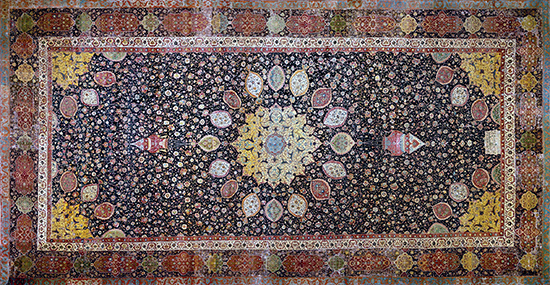 "Medallion Carpet, ""The Ardabil Carpet,"" Maqsud of Kashan, Persian: Safavid Dynasty, silk warps and wefts with wool pile (25 million knots, 340 per sq. inch), 1539-40 C.E., Tabriz, Kashan, Isfahan or Kirman, Iran, (now at the Victoria and Albert Museum)"