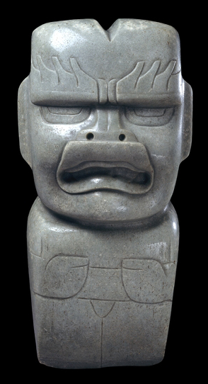 Jade votive axe, Olmec, 1200-400 B.C.E., 29 x 13.5 cm © Trustees of the British Museum