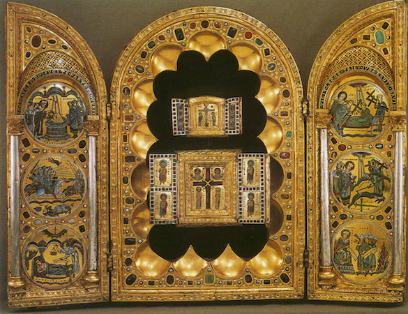 Stavelot Triptych, c. 1156-8, gold and enamel, 48 x 66 cm open (The Morgan Library and Museum)