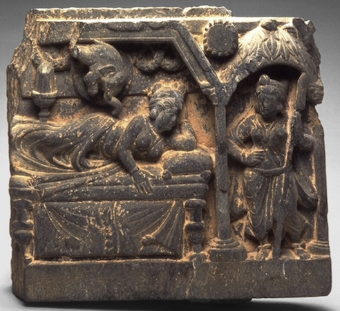 The Conception of the Buddha-to-be in Queen Maya's dream, approx. 100–300. Pakistan; ancient region of Gandhara. Phyllite. The Avery Brundage Collection, B64S5.