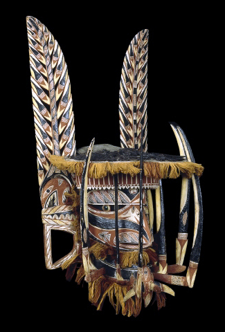 Malanggan mask, before 1884, wood, pigment, vegetable fibre, operculum., 48.3 x 79.7 x 49.5 cm, New Ireland, Papua New Guinea © The Trustees of the British Museum