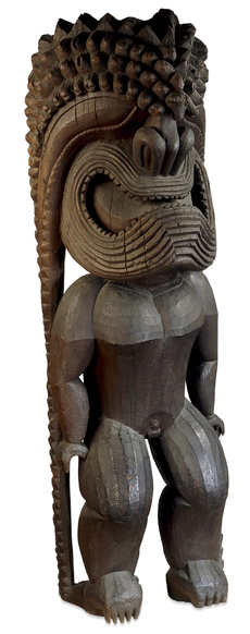 Figure of the war god Ku-ka'ili-moku, probably 1790-1810, C.E., 272 cm, Hawai'i © Trustees of the British Museum