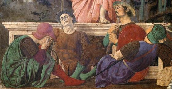 Soldiers laying at Christ's feet (detail), Piero della Francesca, The Resurrection, c. 1463-5, fresco, 225 x 200 cm (Museo Civico, Sansepolcro)
