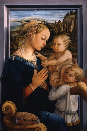 Andrea del Verrocchio (with Leonardo), Baptism of Christ, 1470-75, oil and tempera on panel, 70 3/4 x 59 3/4 inches or 180 x 152 cm (Galleria degli Uffizi, Florence)