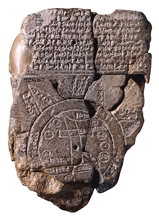 The Map of the World (with Akkadian cuneiform inscription), c. 6th c. B.C.E., 12.2 x 8.2 cm, clay (found Sippar) © Trustees of the British Museum