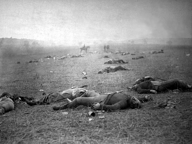"""Timothy O'Sullivan, """"The Harvest of Death"""": Union dead on the battlefield at Gettysburg, Pennsylvania, photographed July 5–6, 1863"""