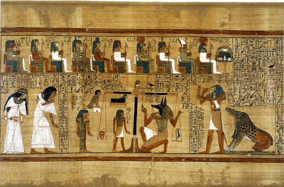 Papyrus from the Book of the Dead of Ani, c. 1275 B.C.E., 44.5 x 30.7, Thebes, Egypt © Trustees of the British Museum