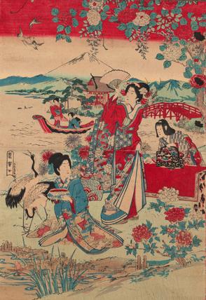 Sato Torakiyo (publisher), Geishas in a Landscape, c 1870-80, coloured woodblock print, 60 x 43 cm (Courtauld Museum, London)
