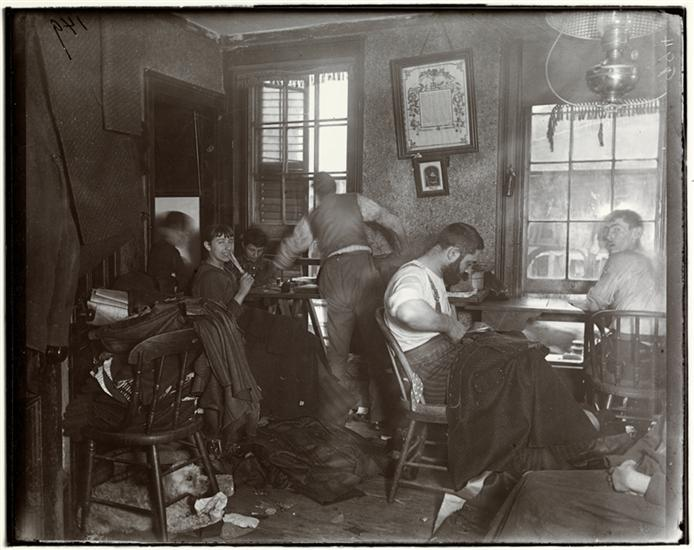 """Jacob August Riis, """"Knee-pants"""" at forty five cents a dozen—A Ludlow Street Sweater's Shop, c. 1890, 7 x 6 inches ("""