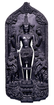 Stele with a standing figure of Vishnu, 12th century, from Bengal, eastern India, Pala dynasty, 162.56 cm, © Trustees of the British Museum