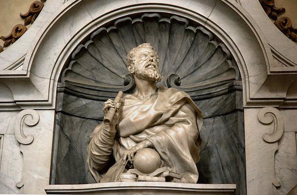 Bust of Galileo (detail), Giambattosta Foggini, Tomb of Galileo, Santa Croce, Florence, 1727