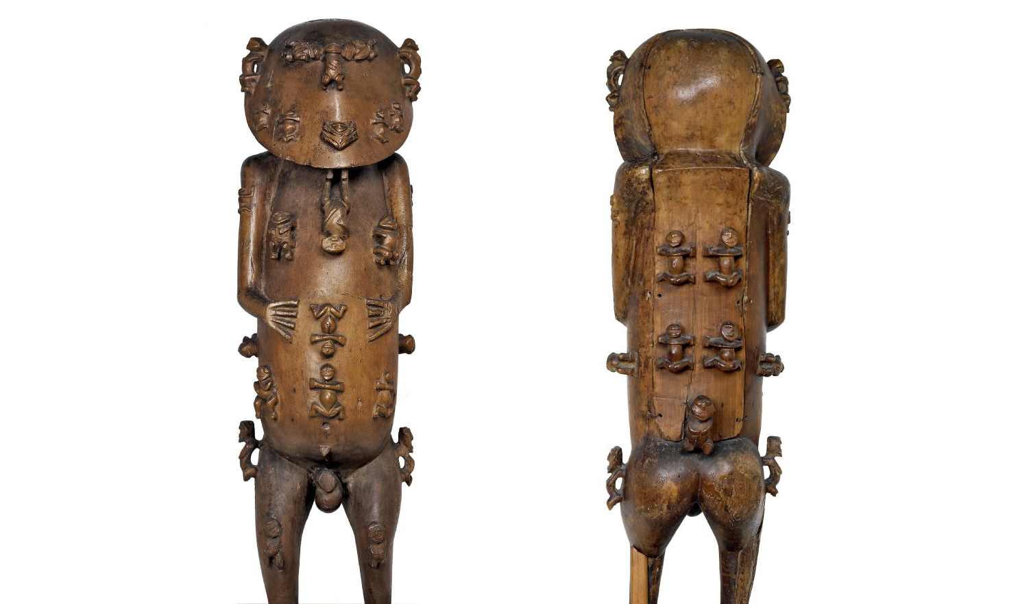 Carved wooden figure known as A'a (two views), late 18th century C.E., hardwood, possibly pua, 117 cm high, Raiatea, Rurutu, Austral Islands, French Polynesia © The Trustees of the British Museum