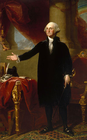 "Gilbert Stuart, Lansdowne Portrait of George Washington, 1796, oil on canvas, 96 × 60"" / 243.8 × 152.4 cm (National Portrait Gallery)"