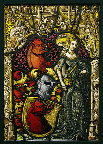 Heraldic Panel with the Arms of the Eberler Family, Swiss, possibly from Basel, c. 1490, pot-metal and clear glass, black and brown vitreous paint, and silver stain. 17-5/16 x 12-3/16 x 3/8 inches (The J. Paul Getty Museum, 2003.47)