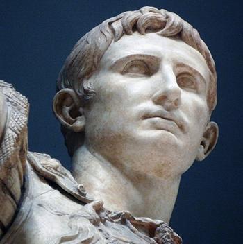 Head (detail), Augustus of Primaporta, 1st century C.E. (Vatican Museums)