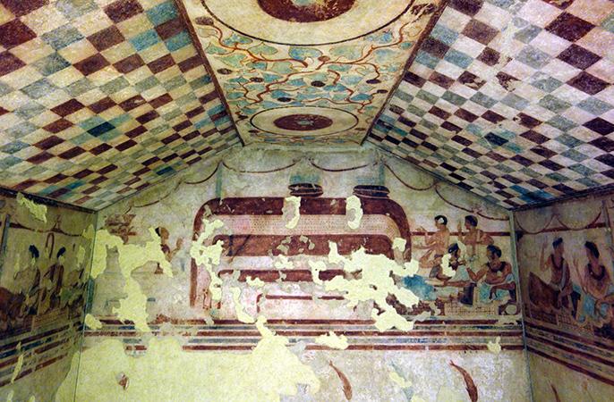 Tomb (of the Funeral Bed?), 470-60 B.C.E., found in the necropolis of Tarquinia (Villa Giulia, Rome)