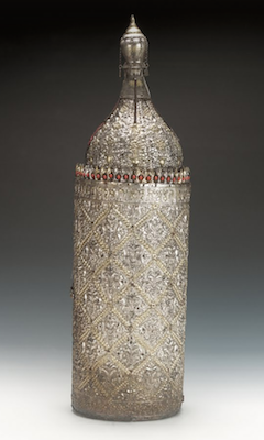 Torah Case, Iraq, 19th-early 20th century, silver overlaid on wood, with coral set cresting (The Jewish Museum, London)