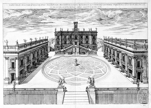 Étienne Dupérac, Michelangelo`s Design for the Campidoglio, 1569, engraving