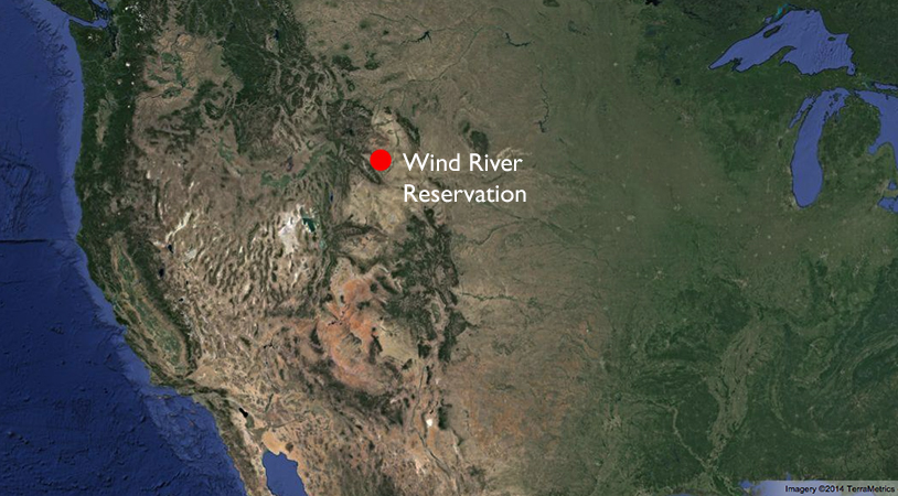 Map with Wind River Reservation © Google Earth