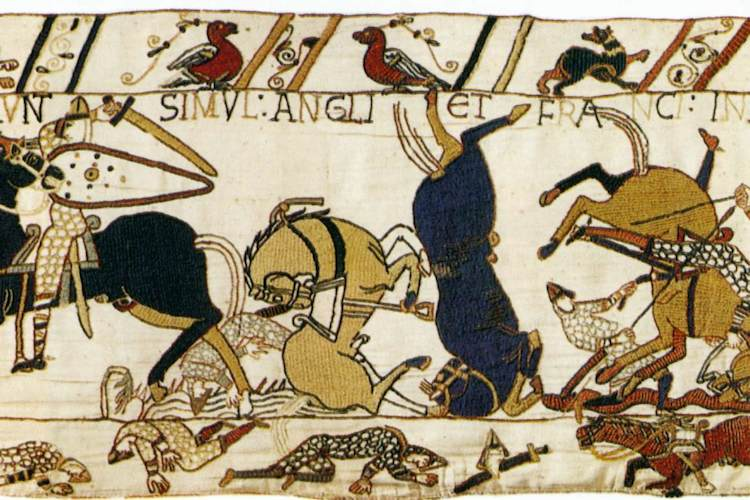 Wounded soldiers and horses (detail), Bayeux Tapestry, c. 1070, embroidered wool on linen, 20 inches high (Bayeux Museum)