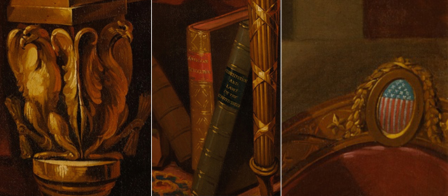 "Medallion, eagles and books (detail), Gilbert Stuart, Lansdowne Portrait of George Washington, 1796, oil on canvas, 96 × 60"" / 243.8 × 152.4 cm (White House version)"