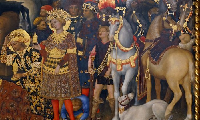 Gentile da Fabriano, Adoration of the Magi (detail with page in the center and a leopard or cheetah in upper right. Note the use of pastiglia seen especially in the tack), 1423, tempera on panel, 283 x 300 cm (Uffizi Gallery, Florence, photo: Steven Zucker, CC BY-NC-SA 4.0)