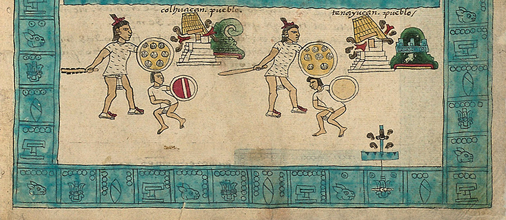 Detail with year 2-Reed, Frontispiece, Codex Mendoza, Viceroyalty of New Spain, c. 1541–1542, pigment on paper © Bodleian Libraries, University of Oxford