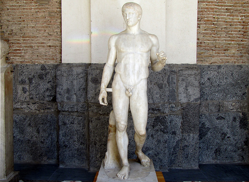 Polykleitos, Doryphoros (Spear-Bearer) or The Canon, c. 450-40 B.C.E., ancient Roman marble copy of a lost Greek bronze, 211 cm, found in Pompeii (Archaeological Museum, Naples)