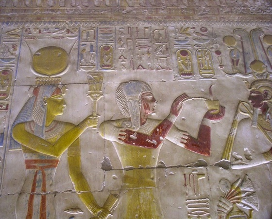 Painted raised relief in the Temple of Seti I at Abydos (New Kingdom)