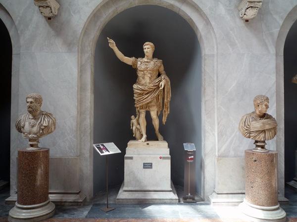 Augustus of Primaporta, 1st century C.E., marble (Vatican Museums)
