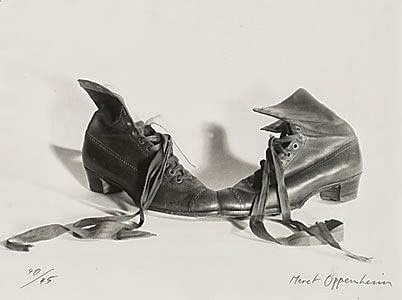 Meret Oppenheim, Das Paar (The Couple), pair of brown shoes attached at the toes, original version 1936, remade 1956