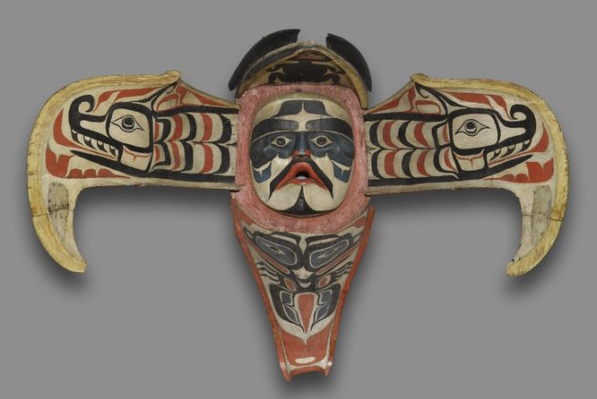 'Namgis artist (of the Kwakwaka'wakw), Thunderbird Transformation Mask, 19th c. (from Alert Bay, Vancouver Island, British Columbia, Canada), cedar, pigment, leather, nails, metal plate, open: 78.7 x 114.3 x 119.4 cm; closed 52.1 x 43.2 x 74.9 cm (Brooklyn Museum)